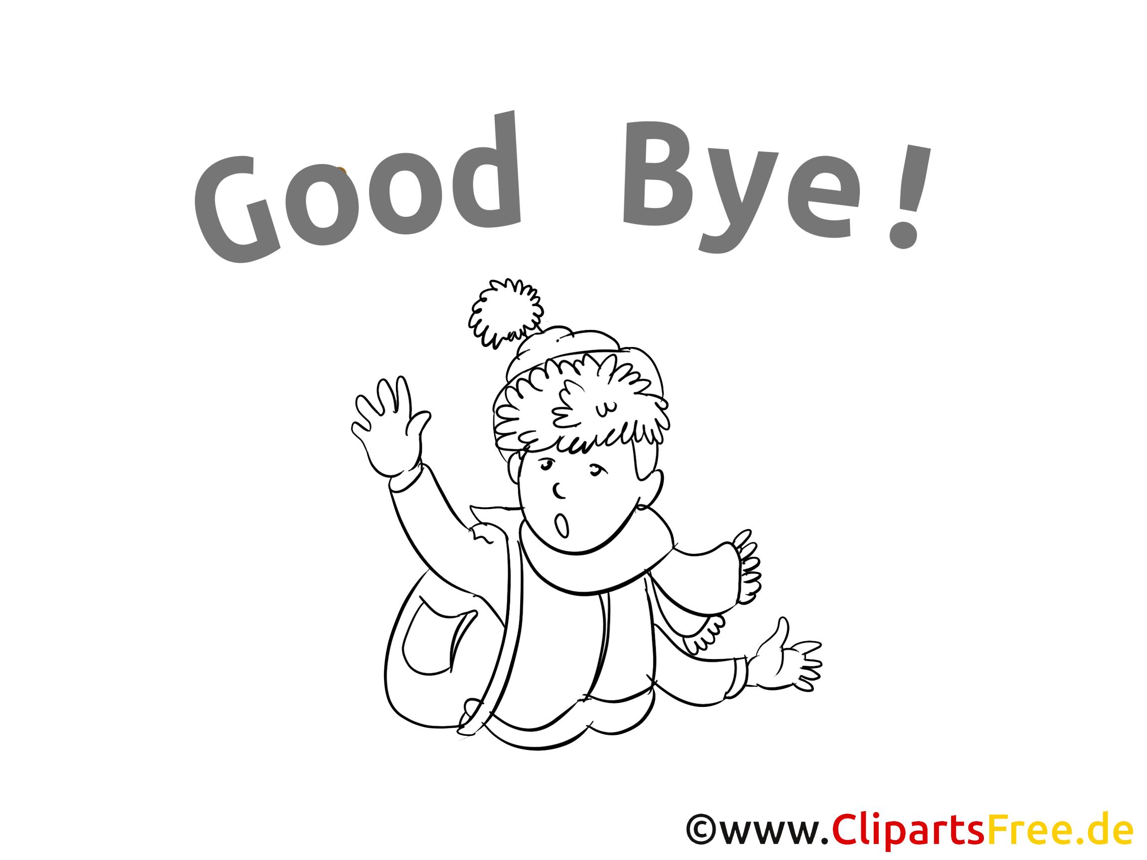 Illustration gratuite adieu  à colorier clipart