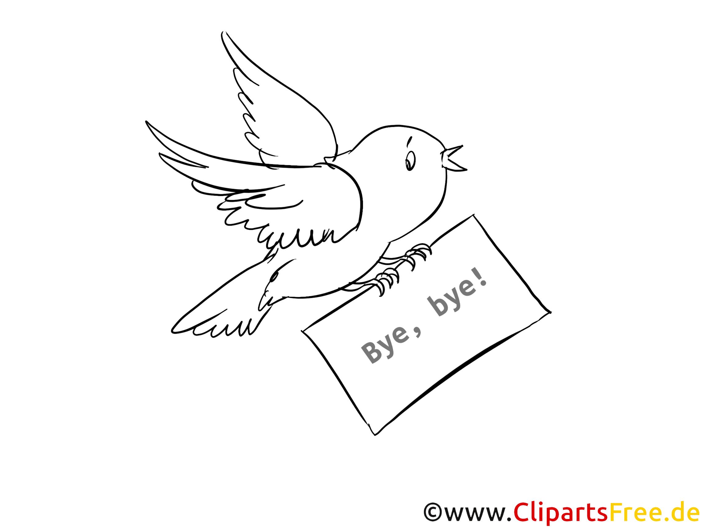 Oiseau dessin à colorier - Adieu clip arts gratuits