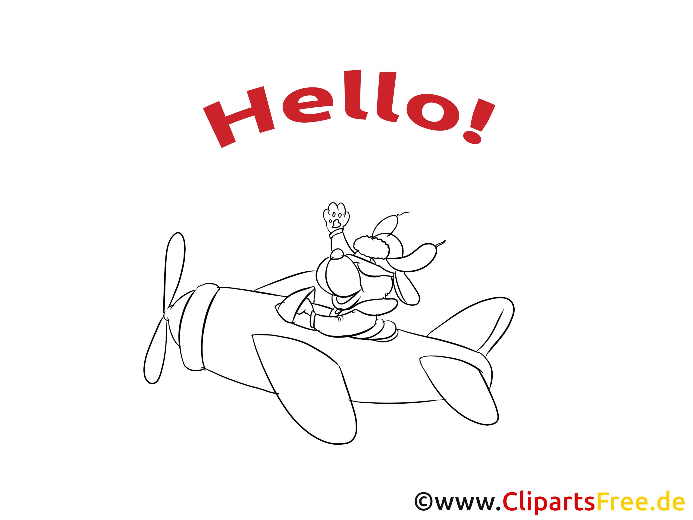 Avion clip art à colorier - Salut dessin