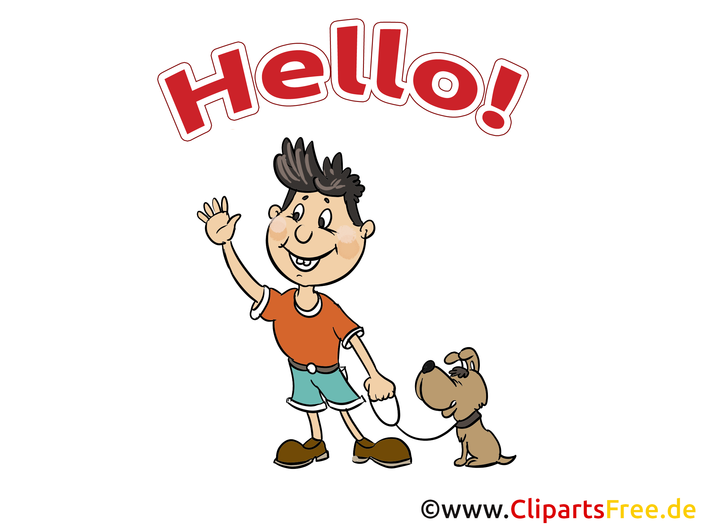 Chien homme image gratuite - Salut illustration