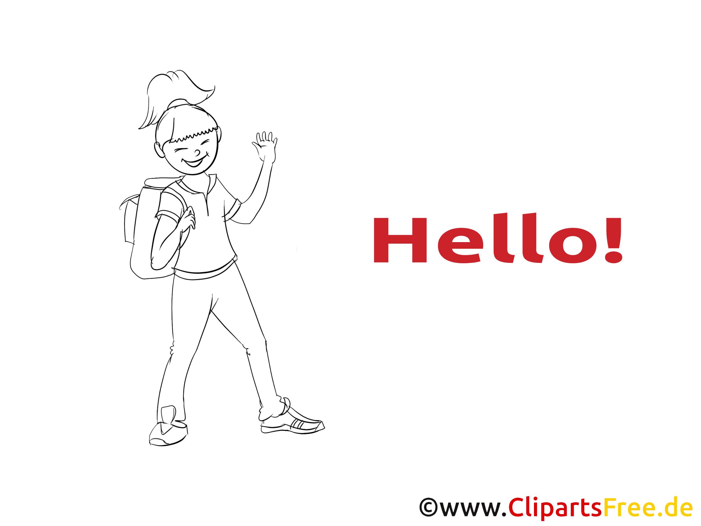 Femme dessin à imprimer - Salut image