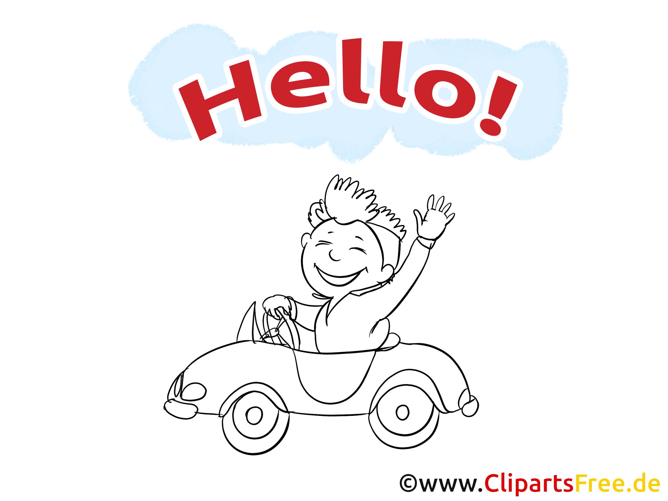 Illustration à colorier voiture - Salut clipart