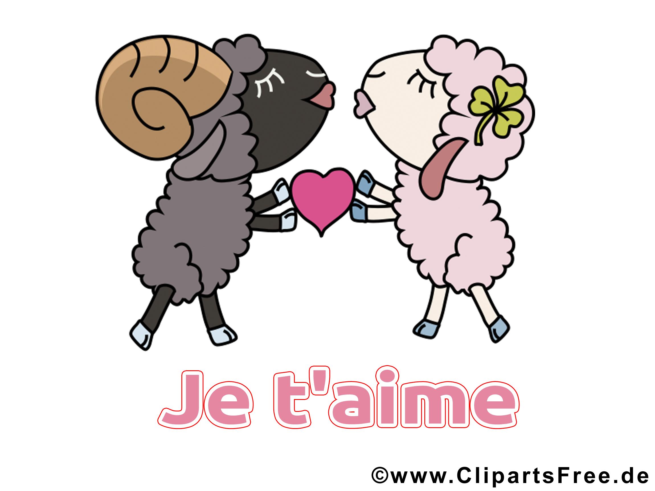 Moutons Illustration Gratuite Je T Aime Clipart Je T