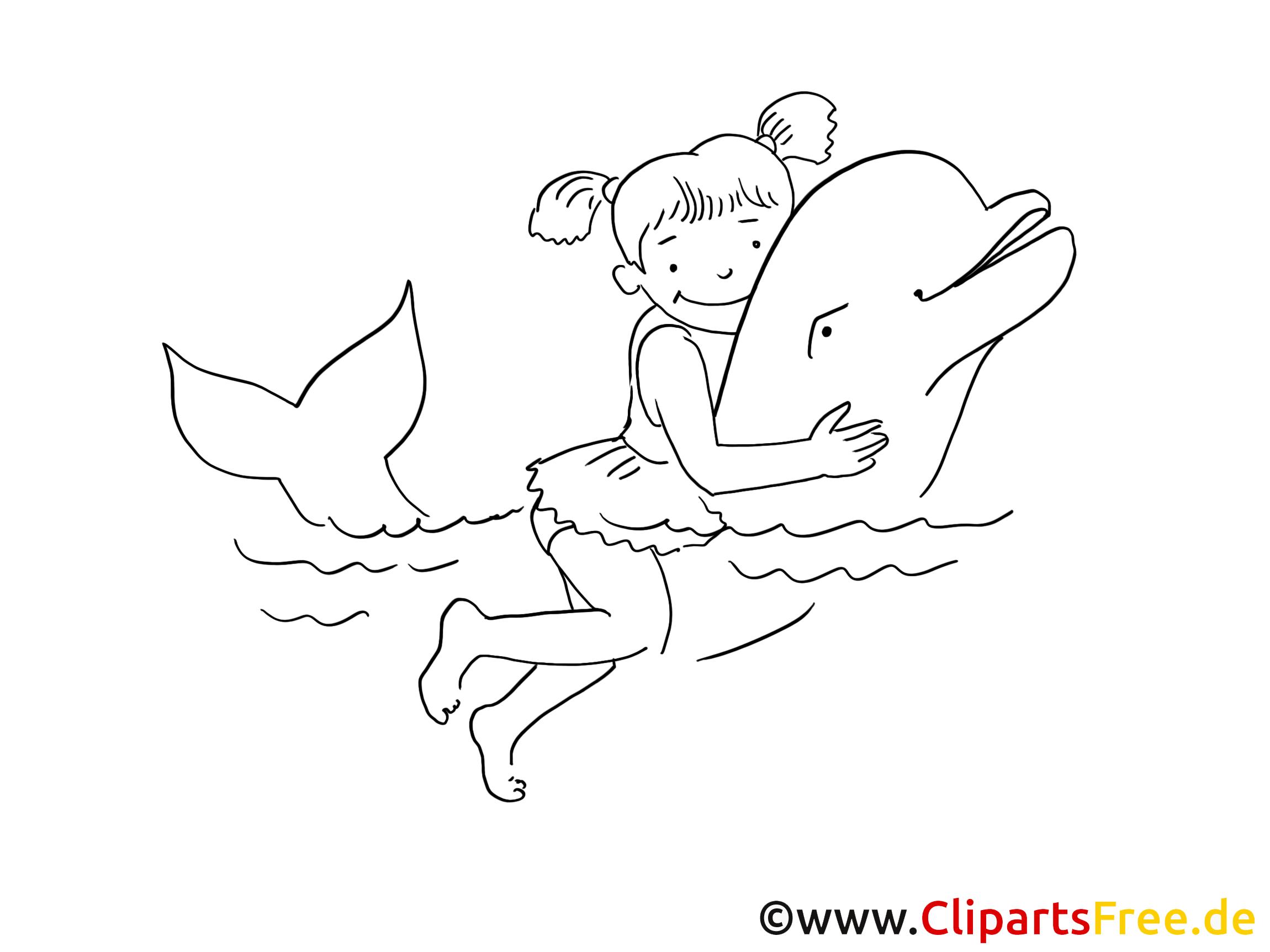 Dauphin nage cliparts à colorier - Loisir images