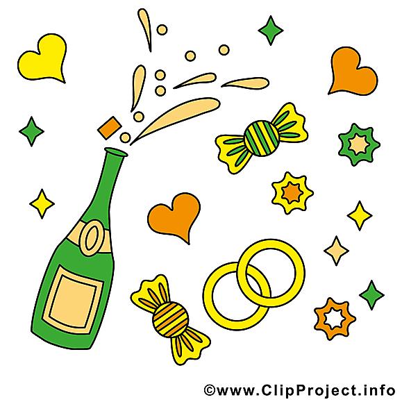 Champagne clipart gratuit - Mariage images