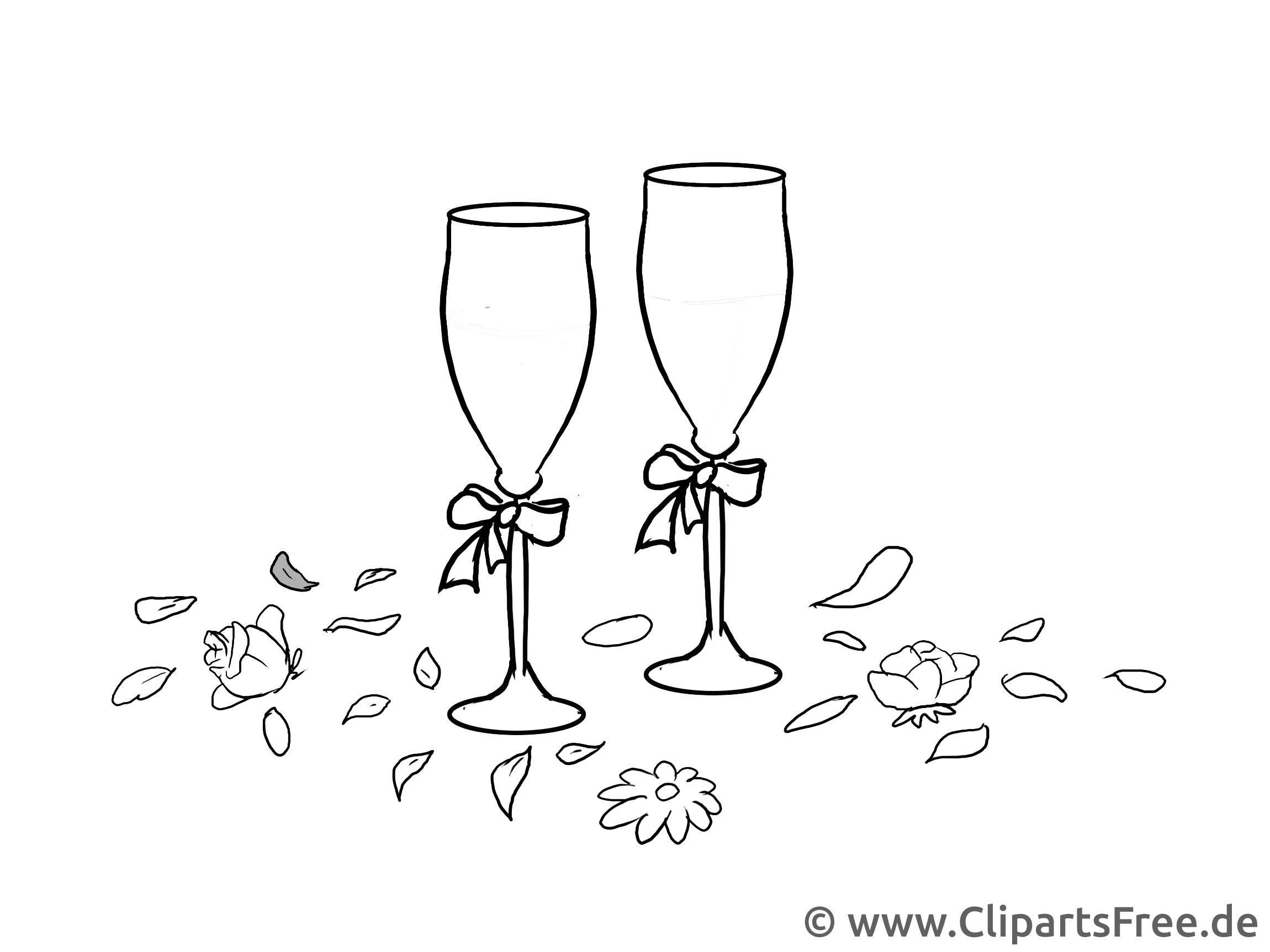 Champagne colriage - Mariage dessins gratuits