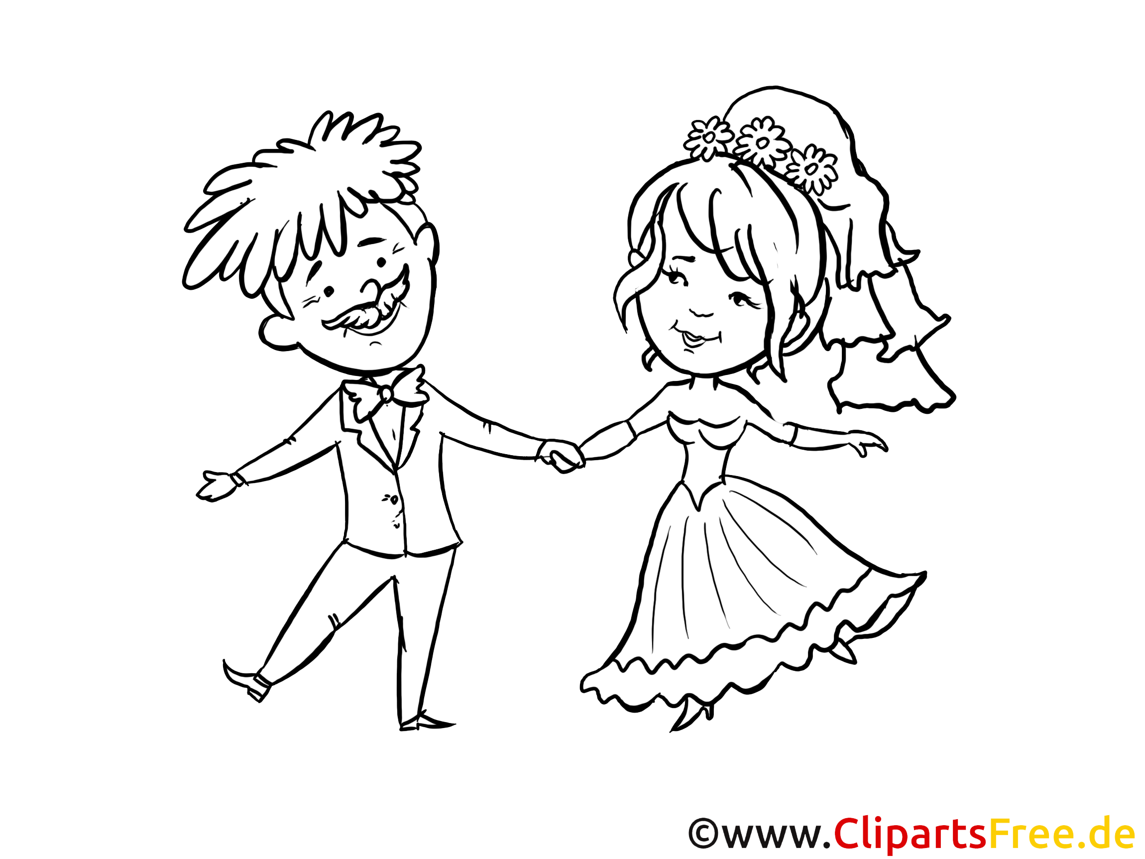 Coloriage gratuite couple - Mariage clipart