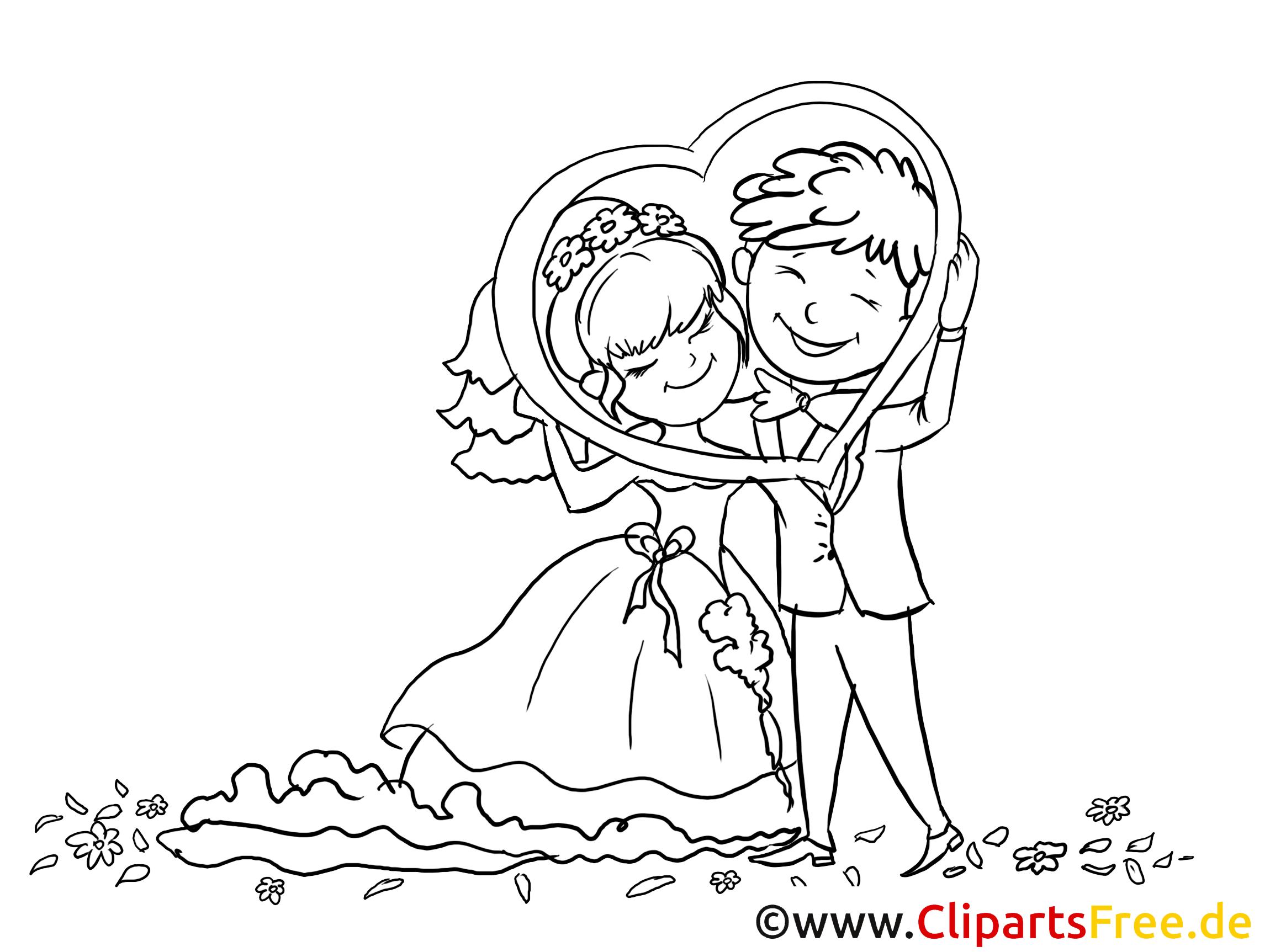 Coloriage gratuite couple - Mariage illustration
