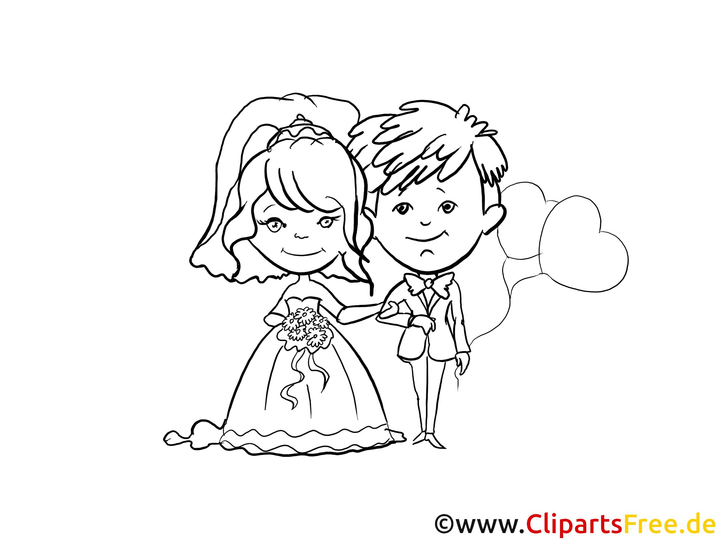 Dessin à colorier couple - Mariage images