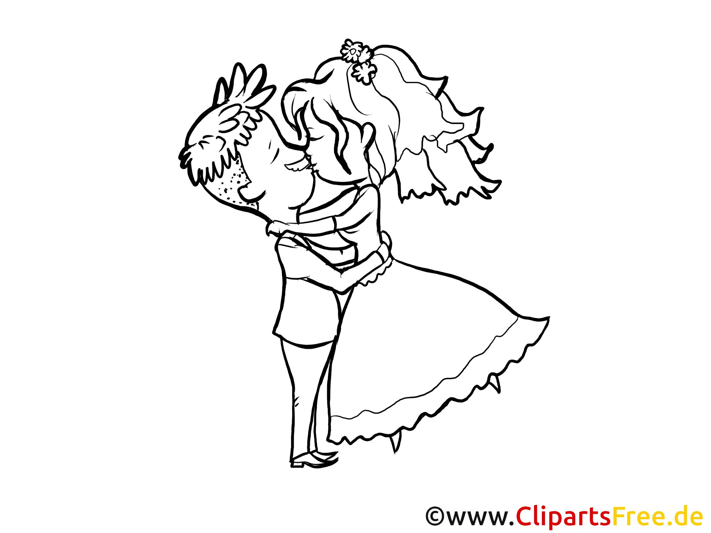 Image à colorier couple - Mariage images cliparts
