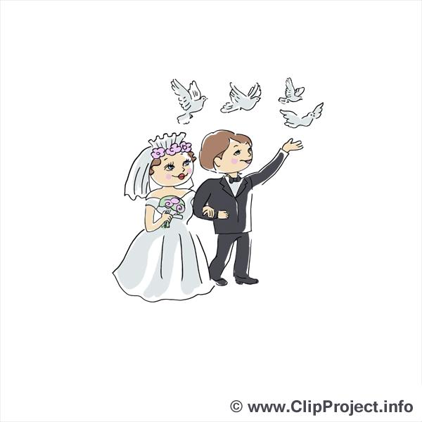 Pigeons dessin - Mariage clip arts gratuits