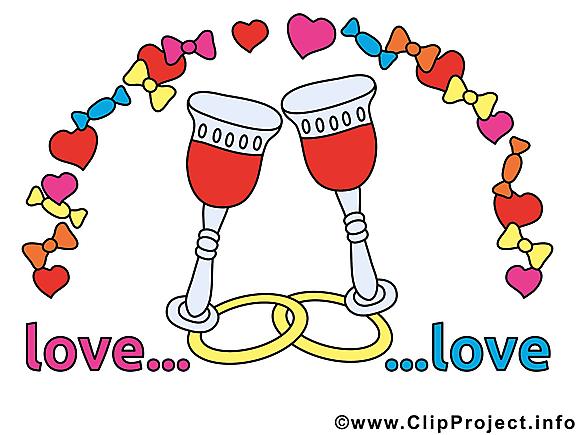 Vin illustration gratuite - Mariage clipart