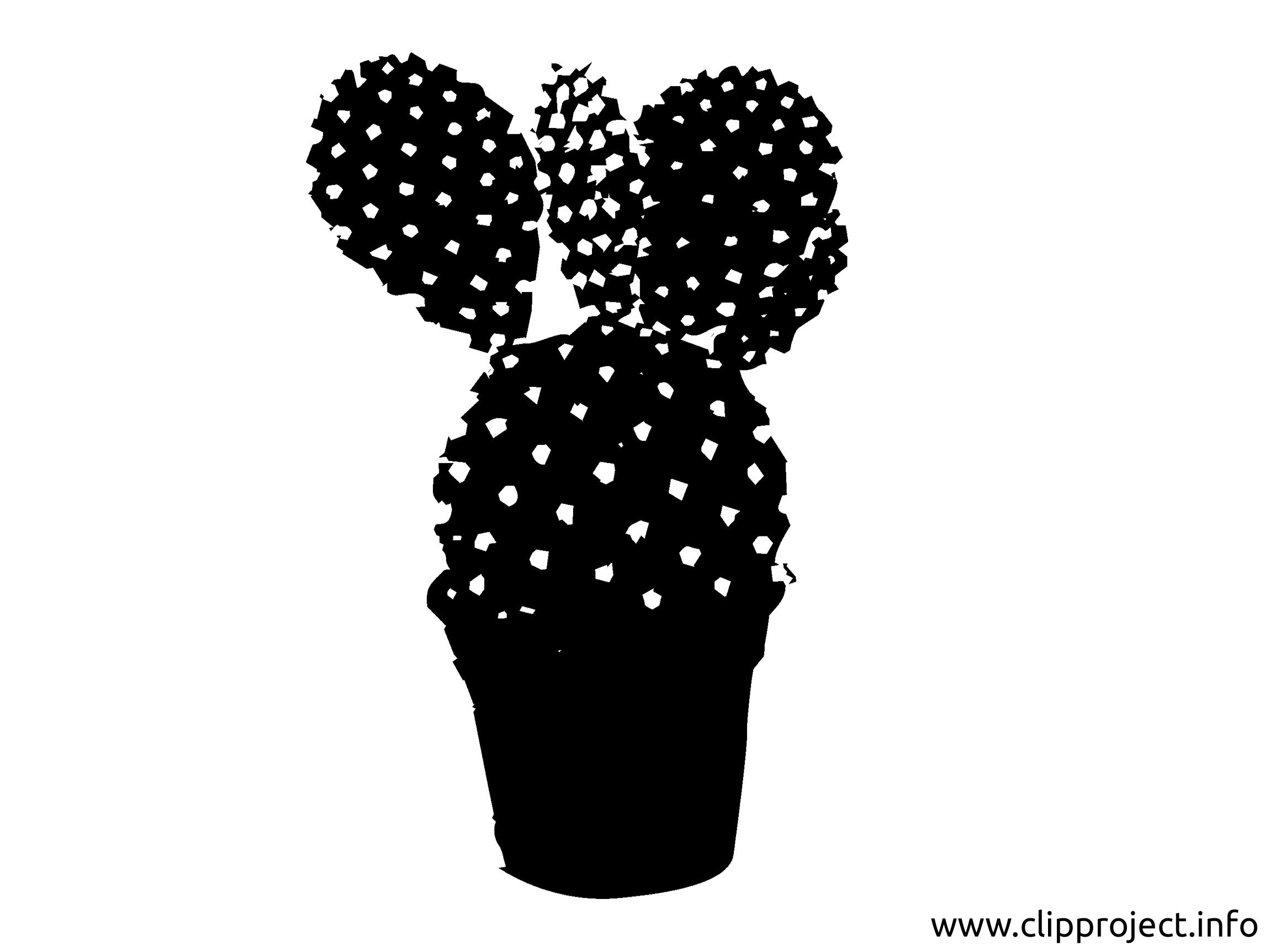 Cactus clip arts gratuits - Noir et blanc illustrations