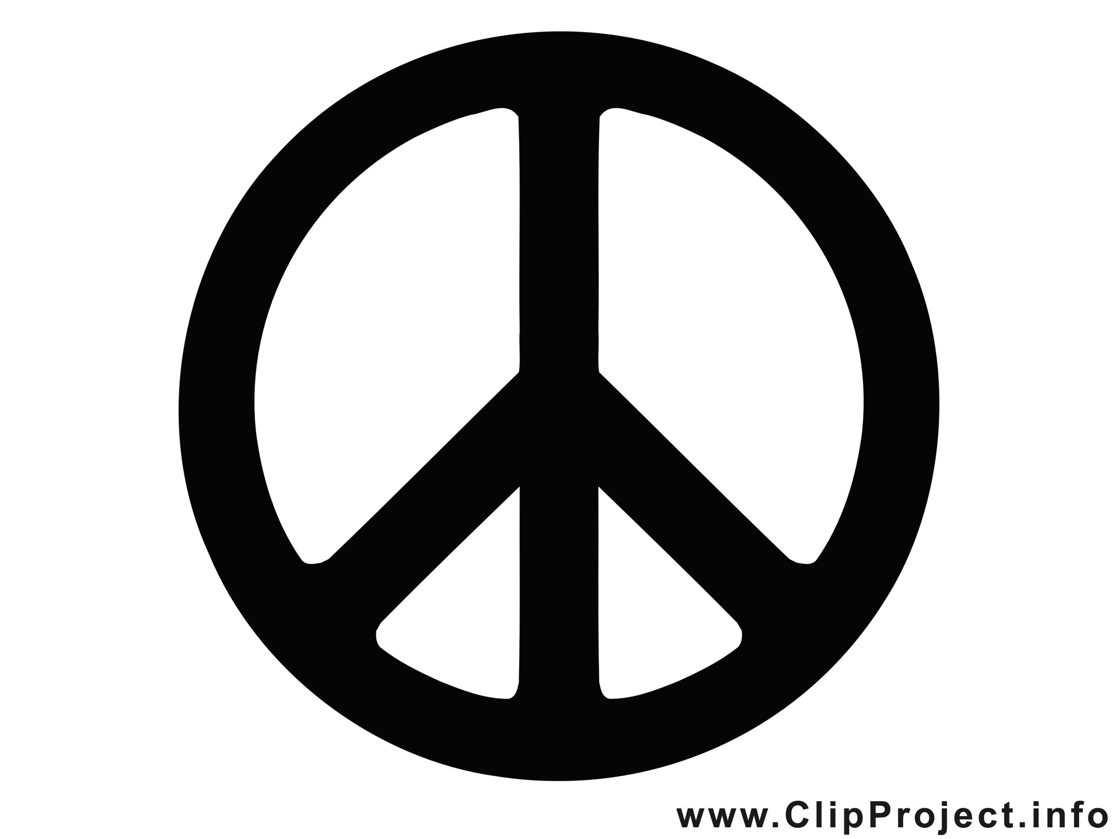 Symbole de la paix illustration - Noir et blanc clipart