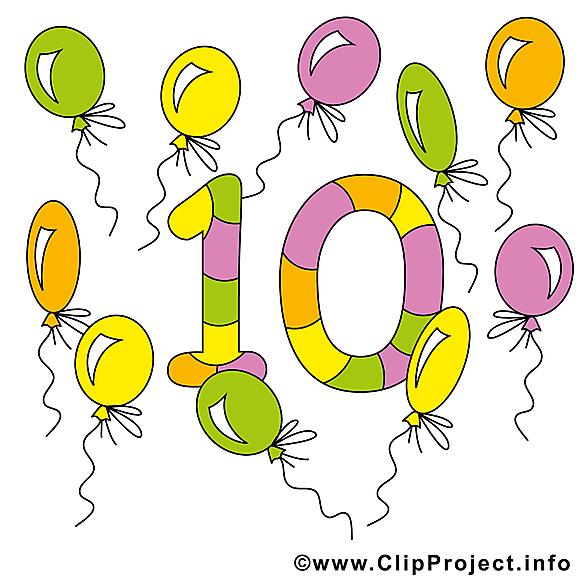 10 ballons images - Nombre clip art gratuit