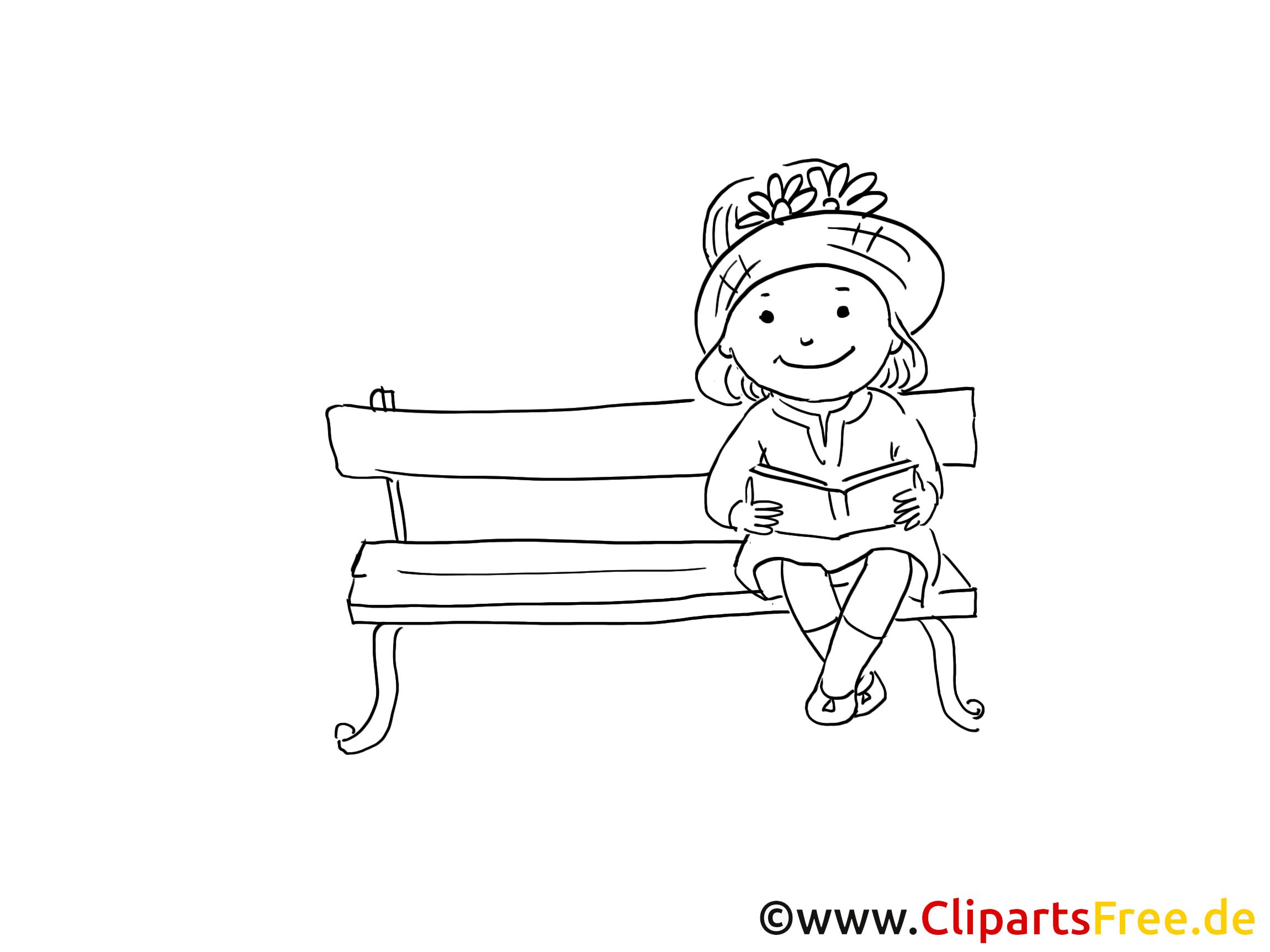 Fille sur banc coloriage clip art maternelle images p pini re cole maternelle dessin - Banc coloriage ...