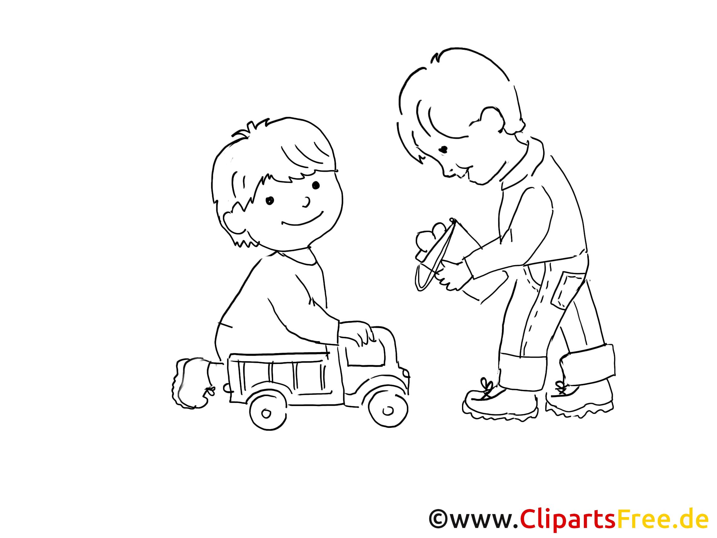 Jouer aux voitures coloriage - Maternelle dessin