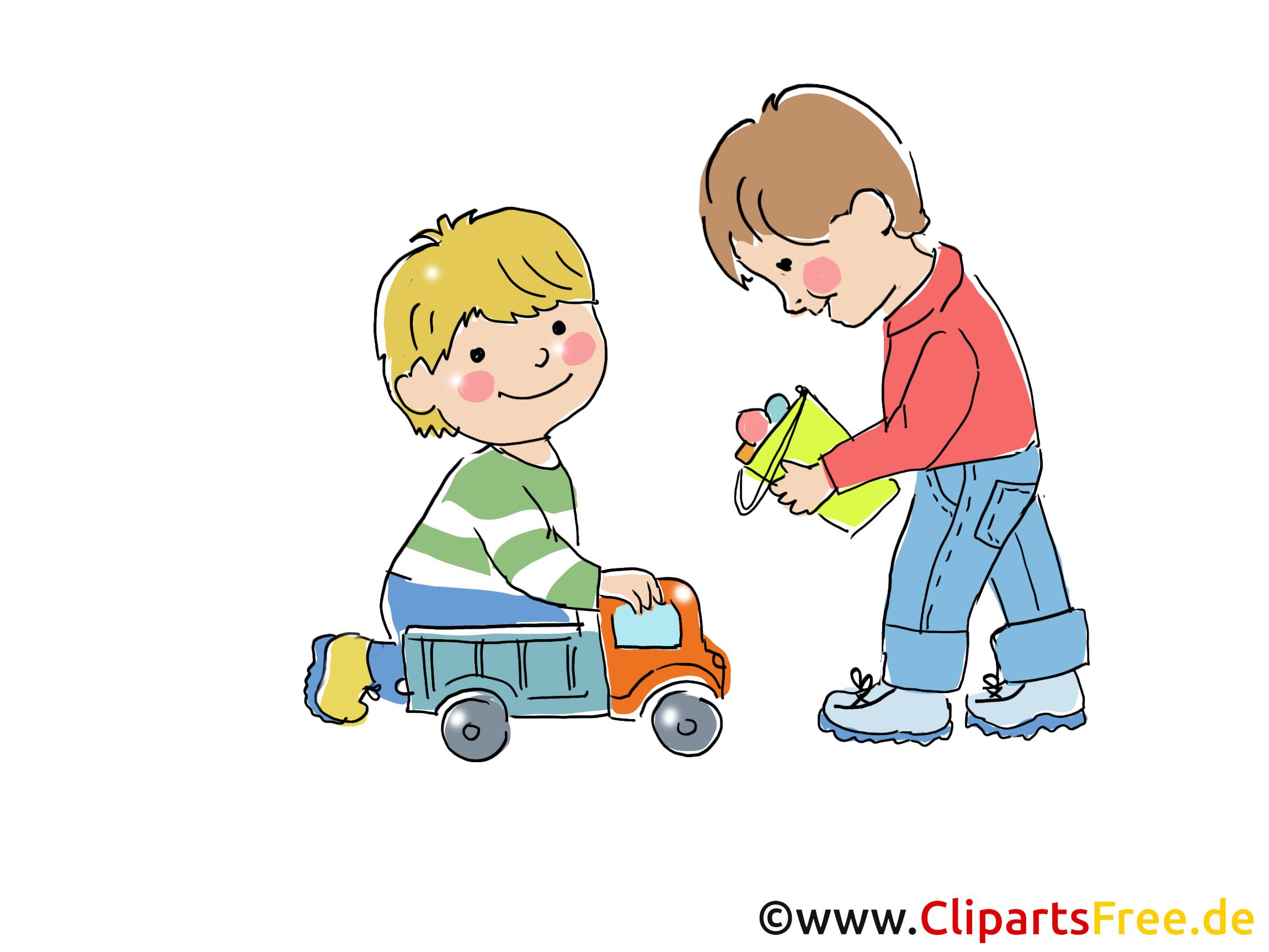 Jouer aux voitures illustration - Maternelle images gratuites