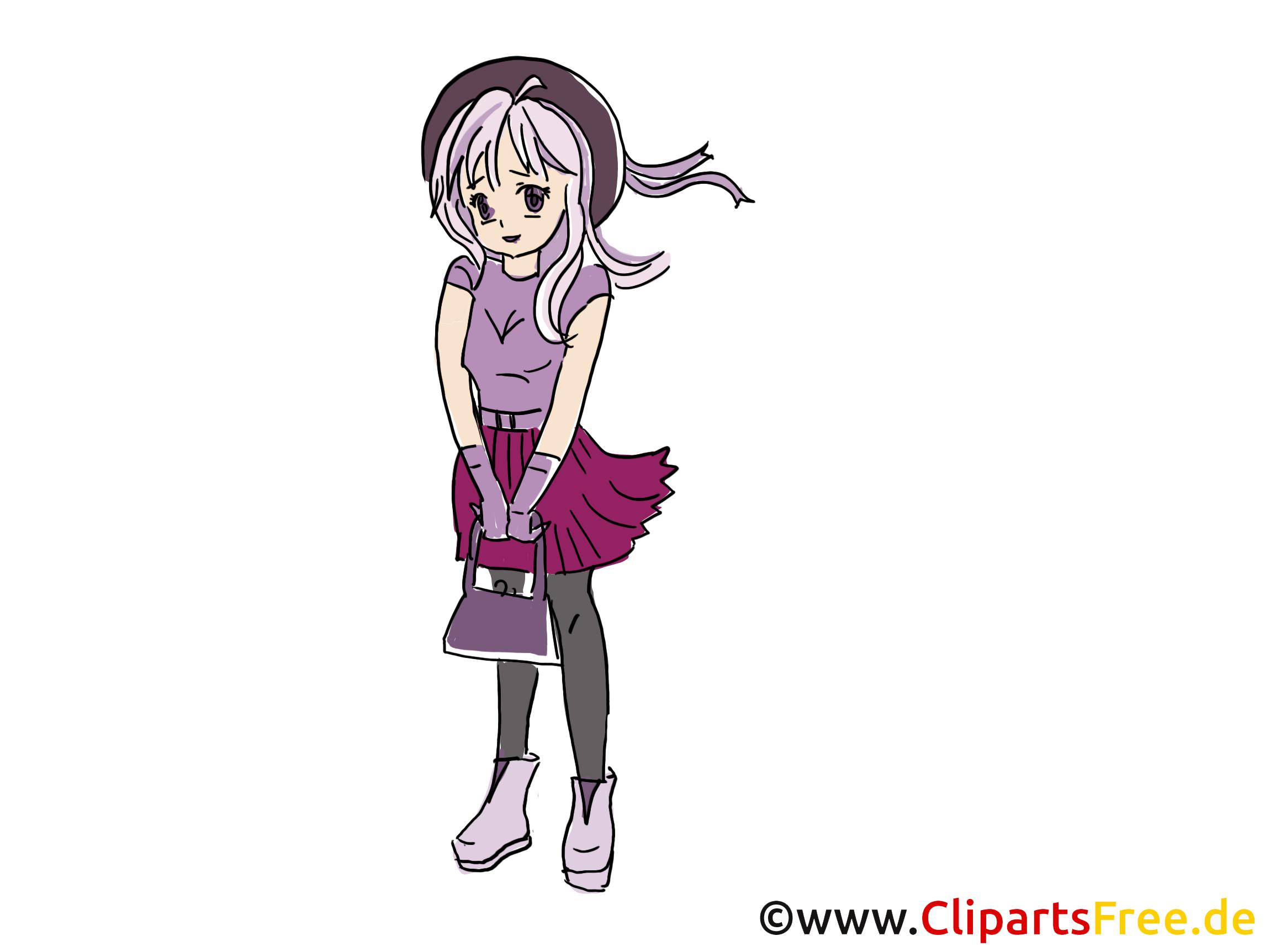 Anime clip art gratuit - Fille dessin