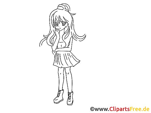 Manga images à imprimer -  Fille dessins gratuits