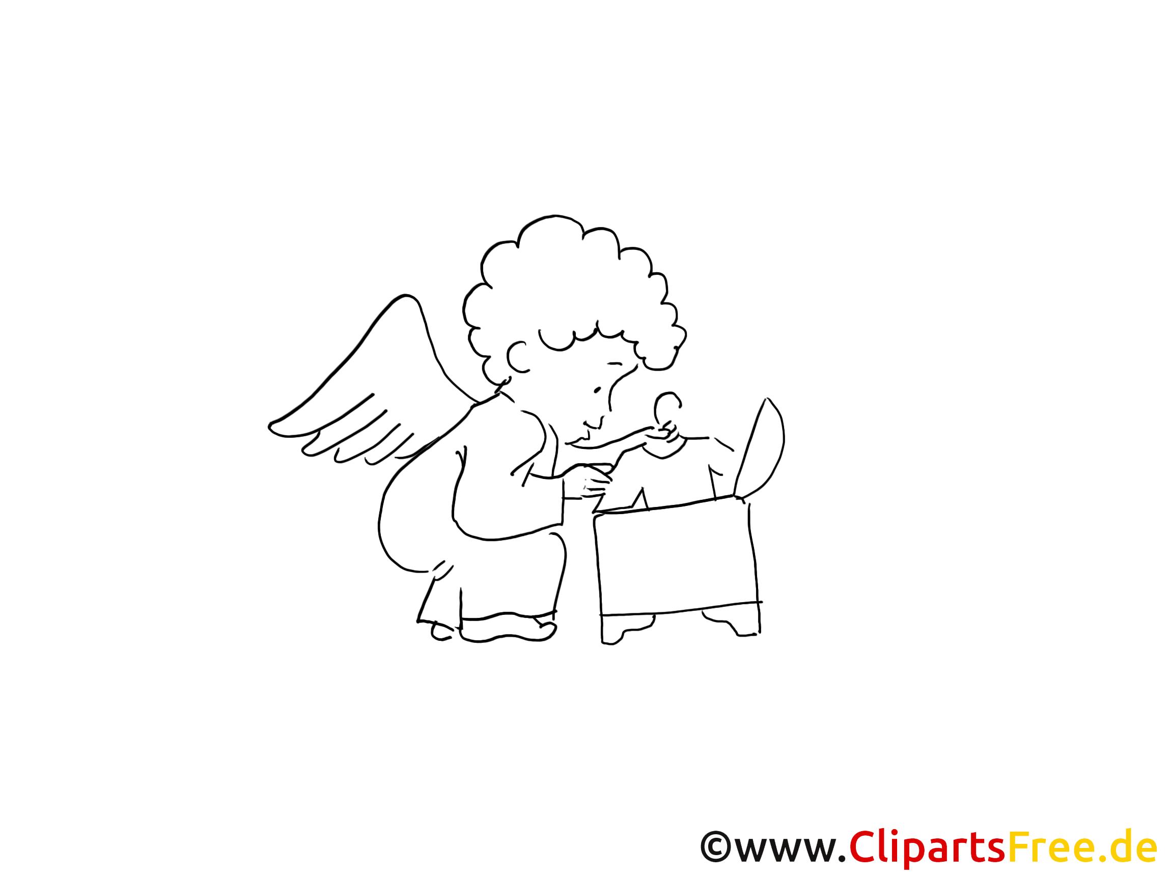Bébé ange coloriage - Baptême images gratuites