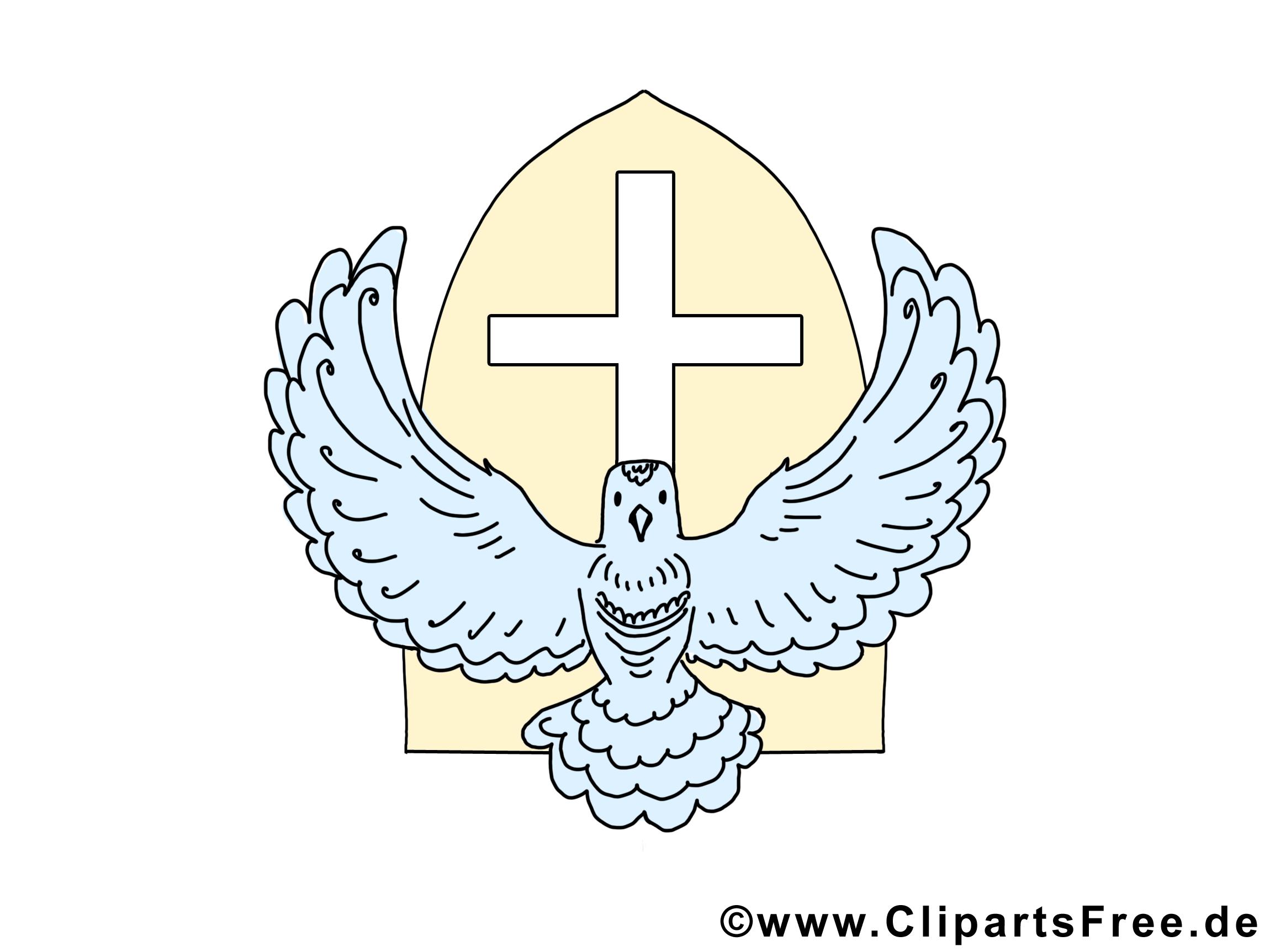 Croix colombe clipart gratuit - Pentecôte cartes