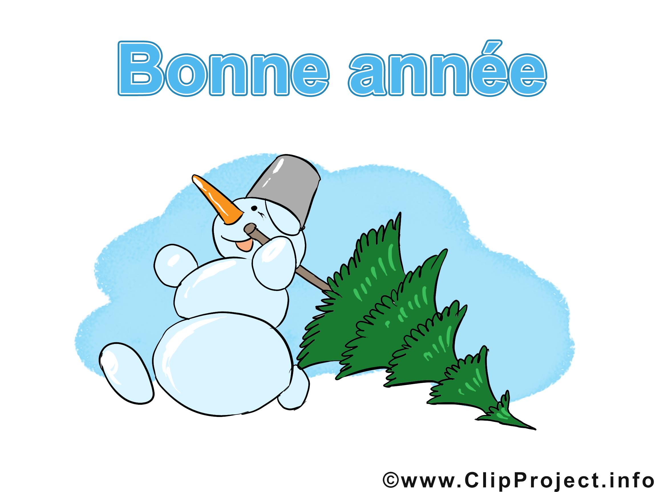 Bonhomme de neige dessin gratuit - Bonne année image