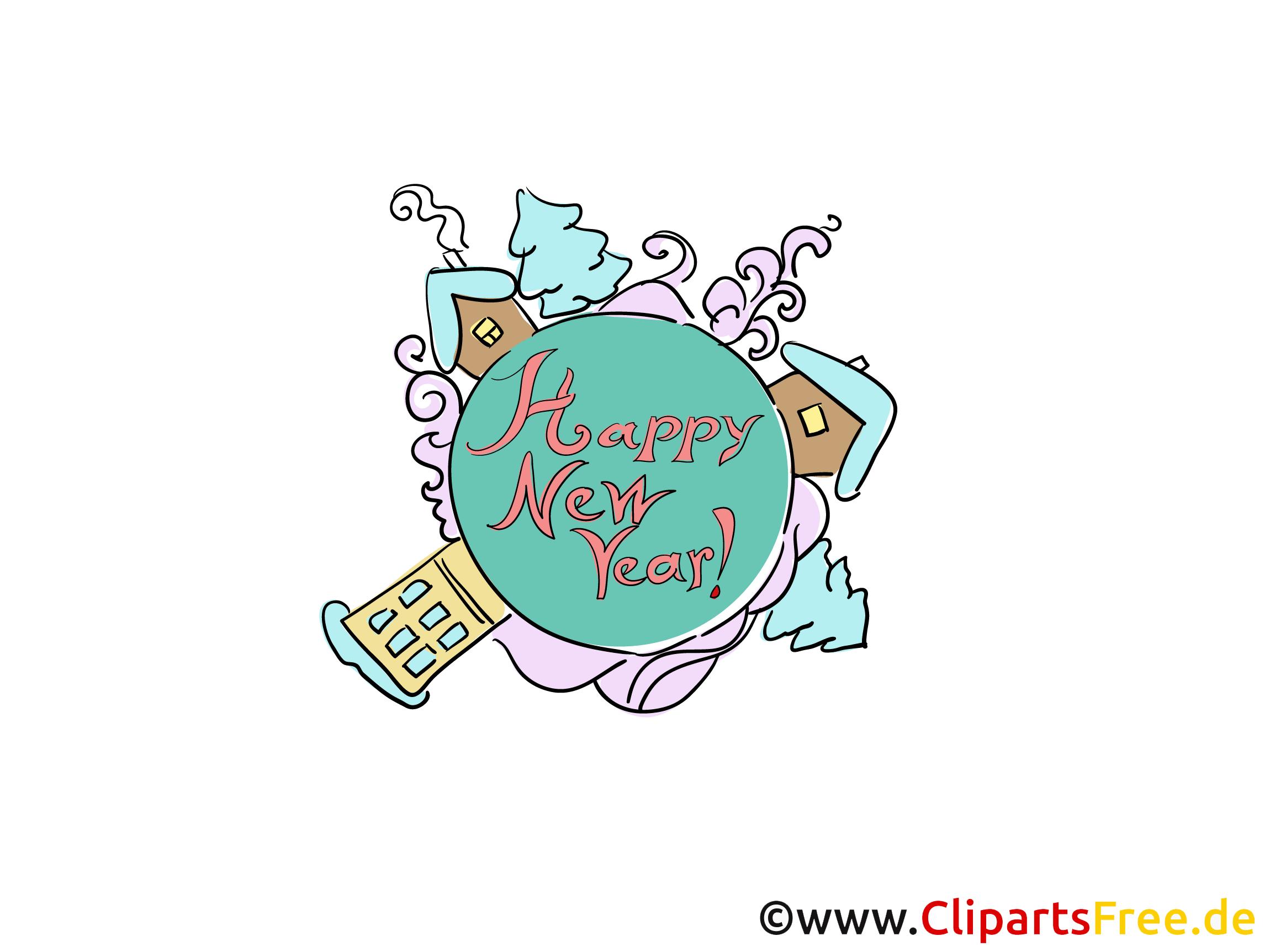 Cartes virtuelles de voeux Happy New Year