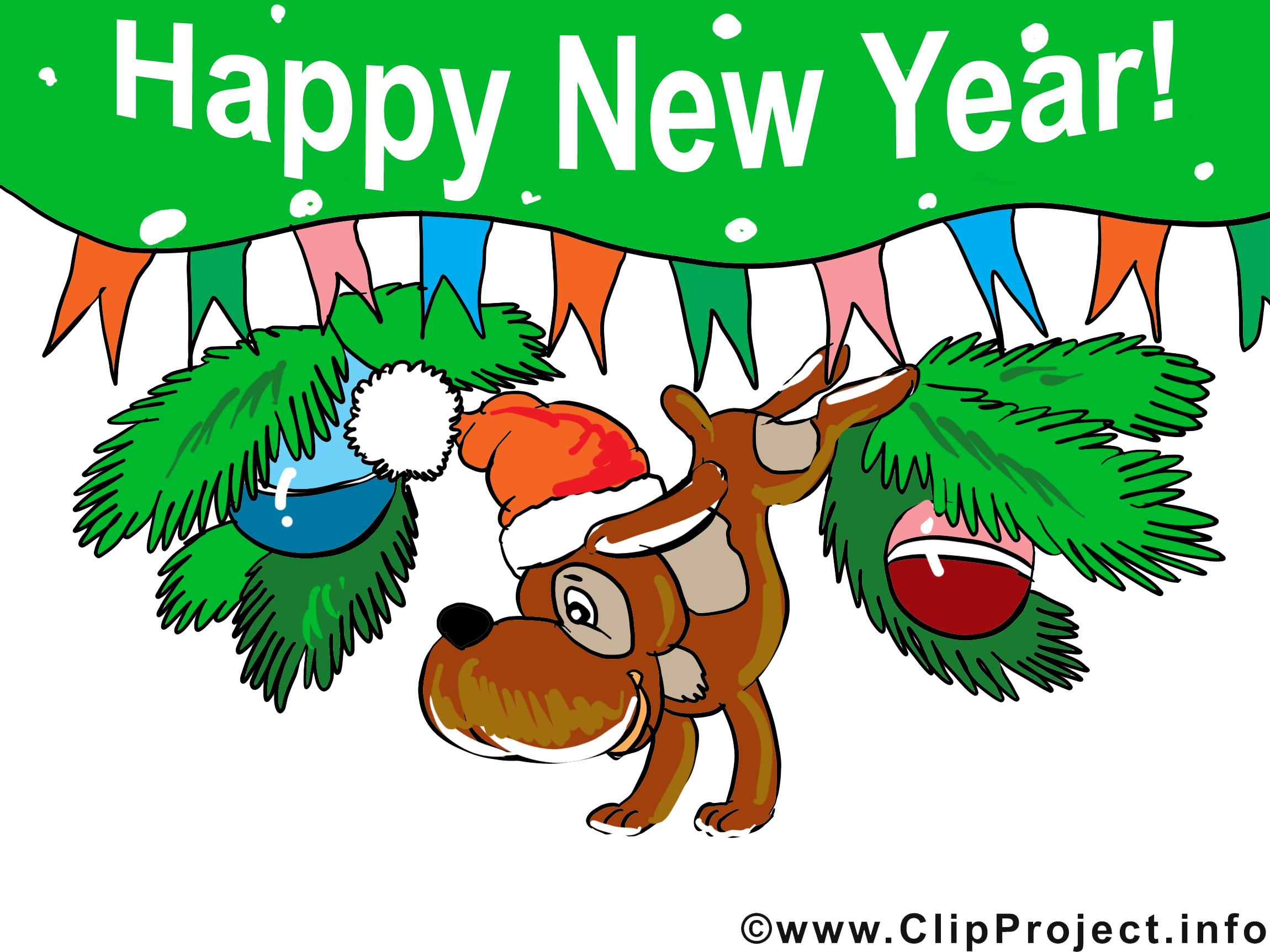 Chien sapin clip art gratuit – Bonne année images