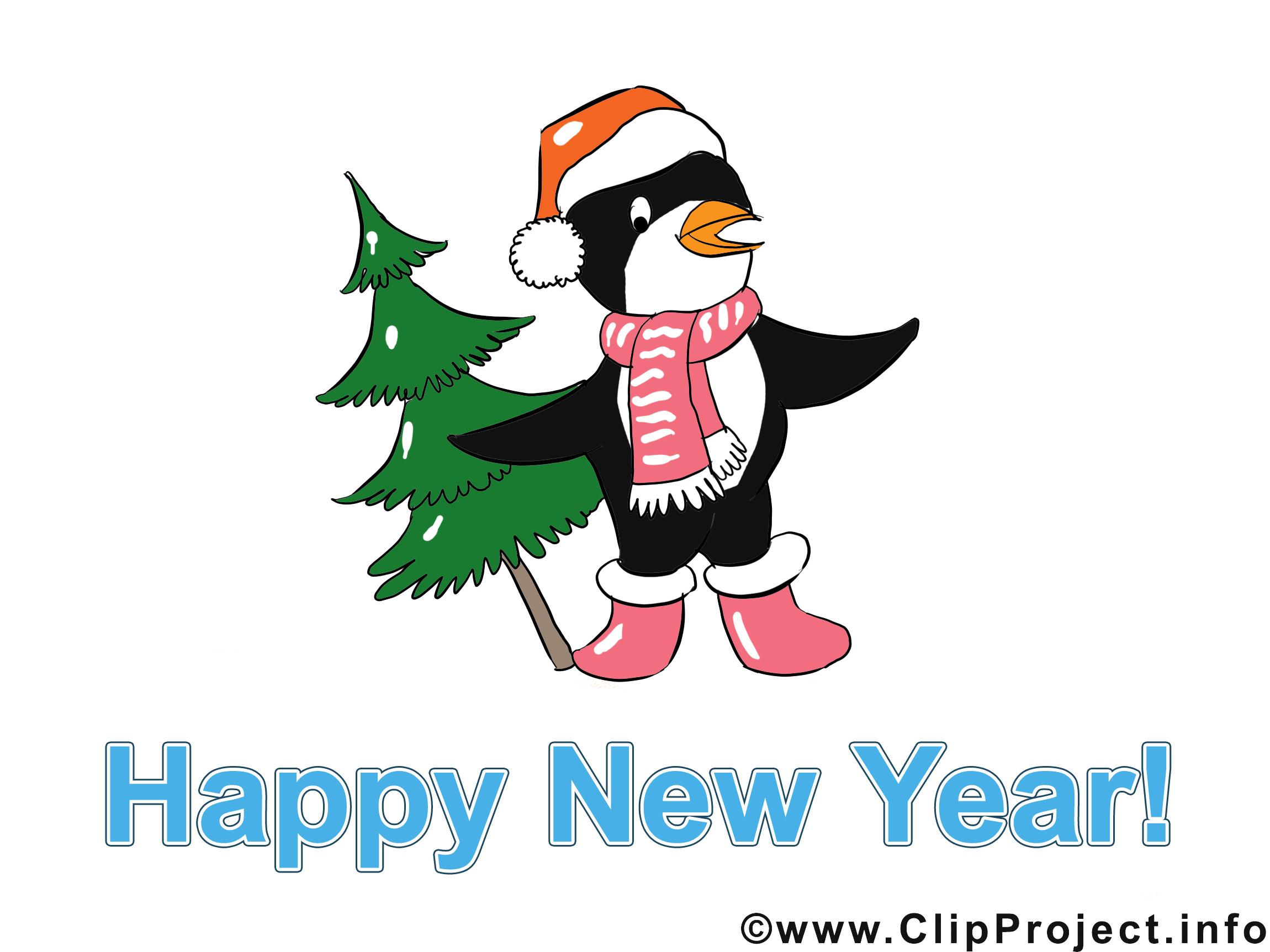 Pingouin sapin images gratuites – Bonne année clipart