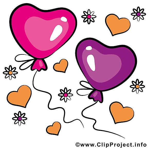 Ballons dessin - Saint-Valentin cliparts à télécharger