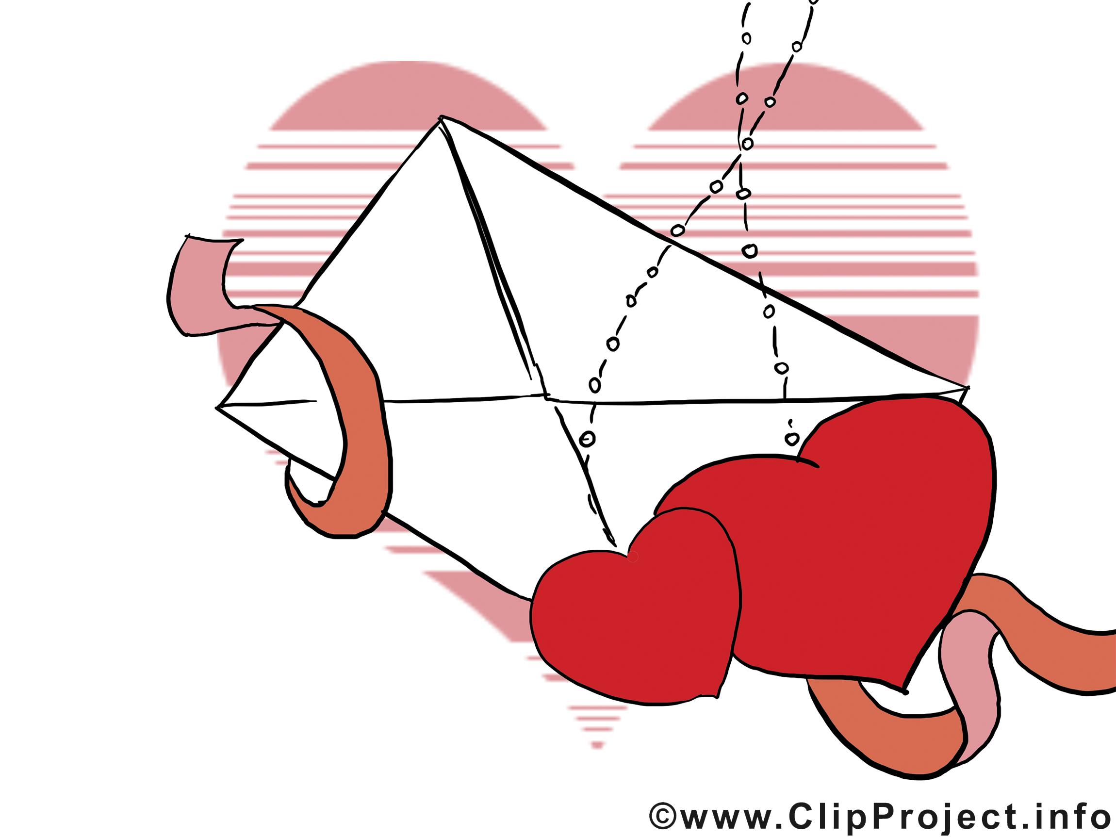 Enveloppe clip art gratuit - Saint-Valentin dessin