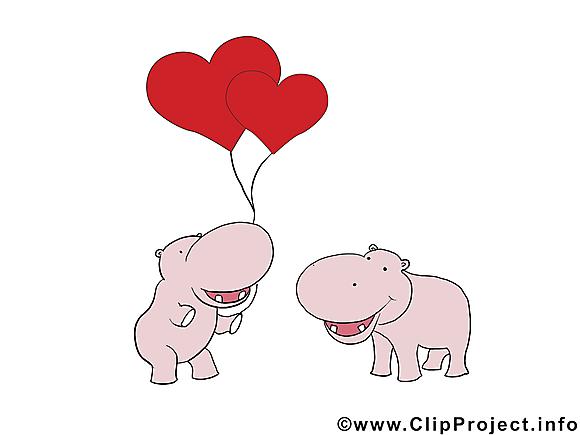 Hippopotames  dessin - Saint-Valentin cliparts