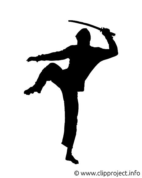 Ninja silhouette dessin gratuit à télécharger