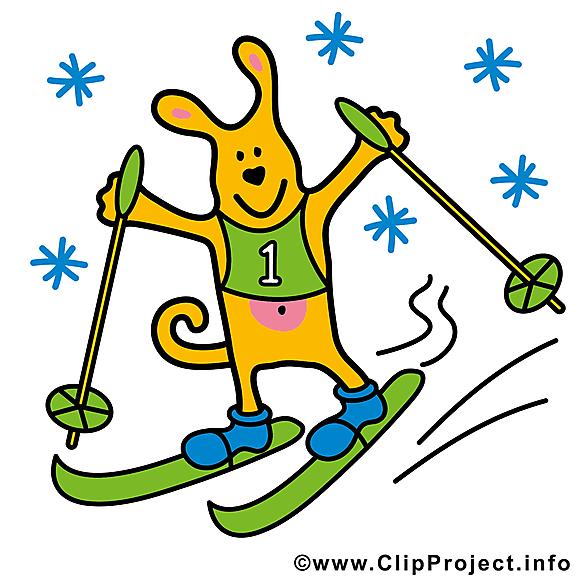 Chien images - Ski clip art gratuit