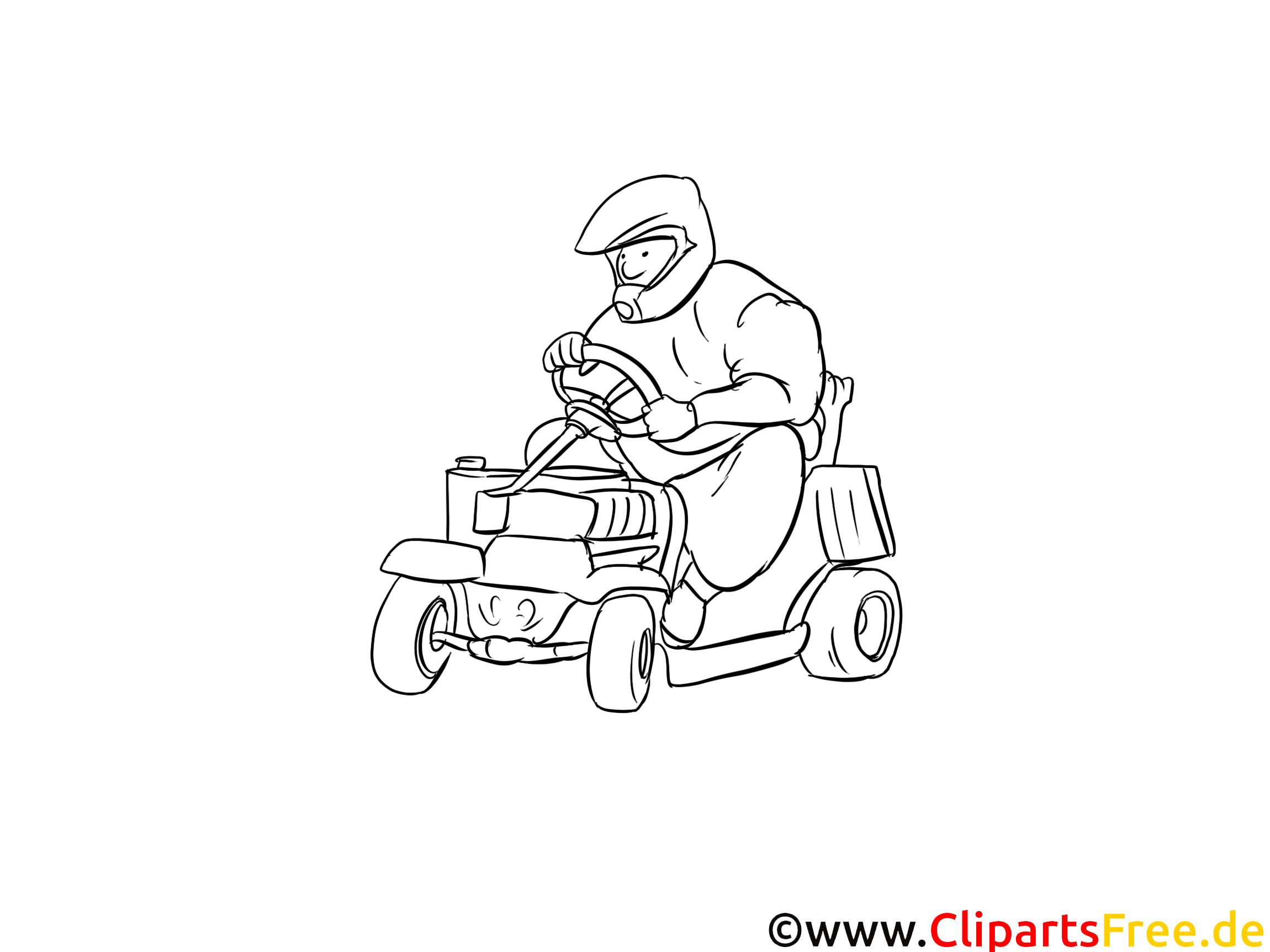 Karting coloriage - Course clipart gratuit