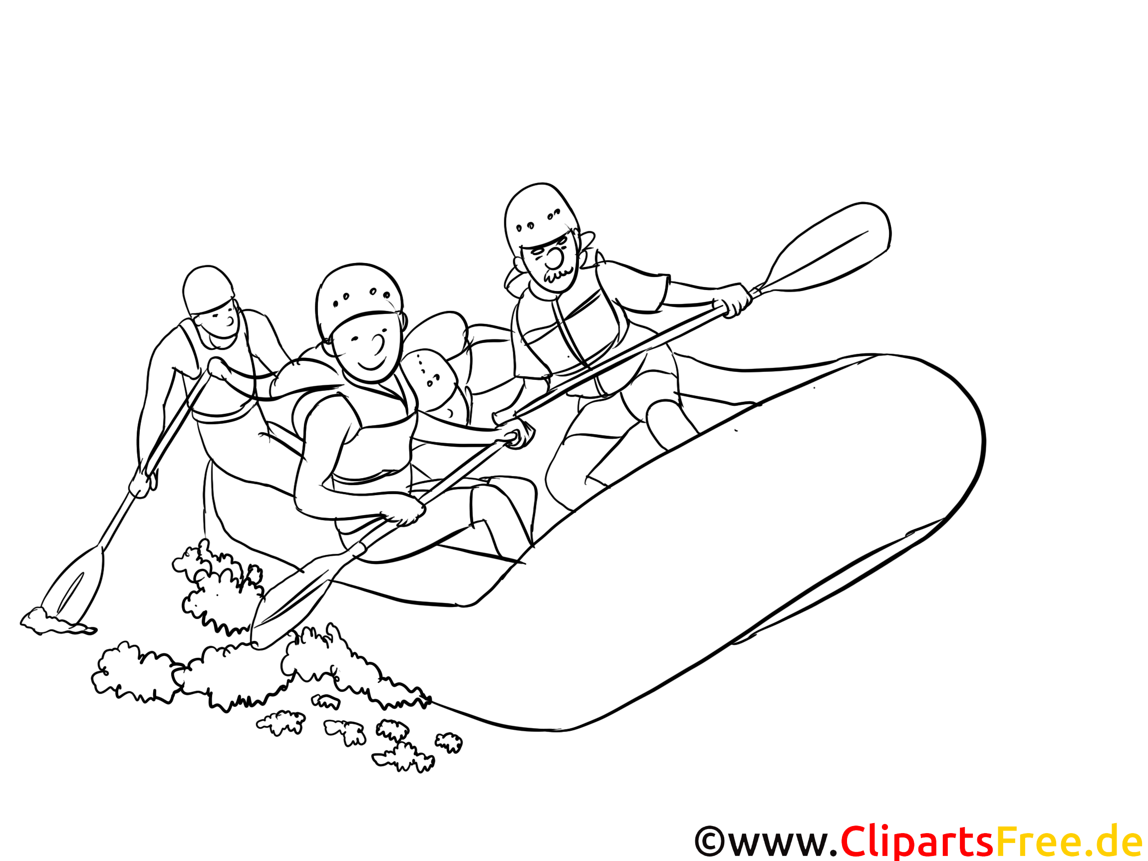Rafting illustration à colorier gratuite