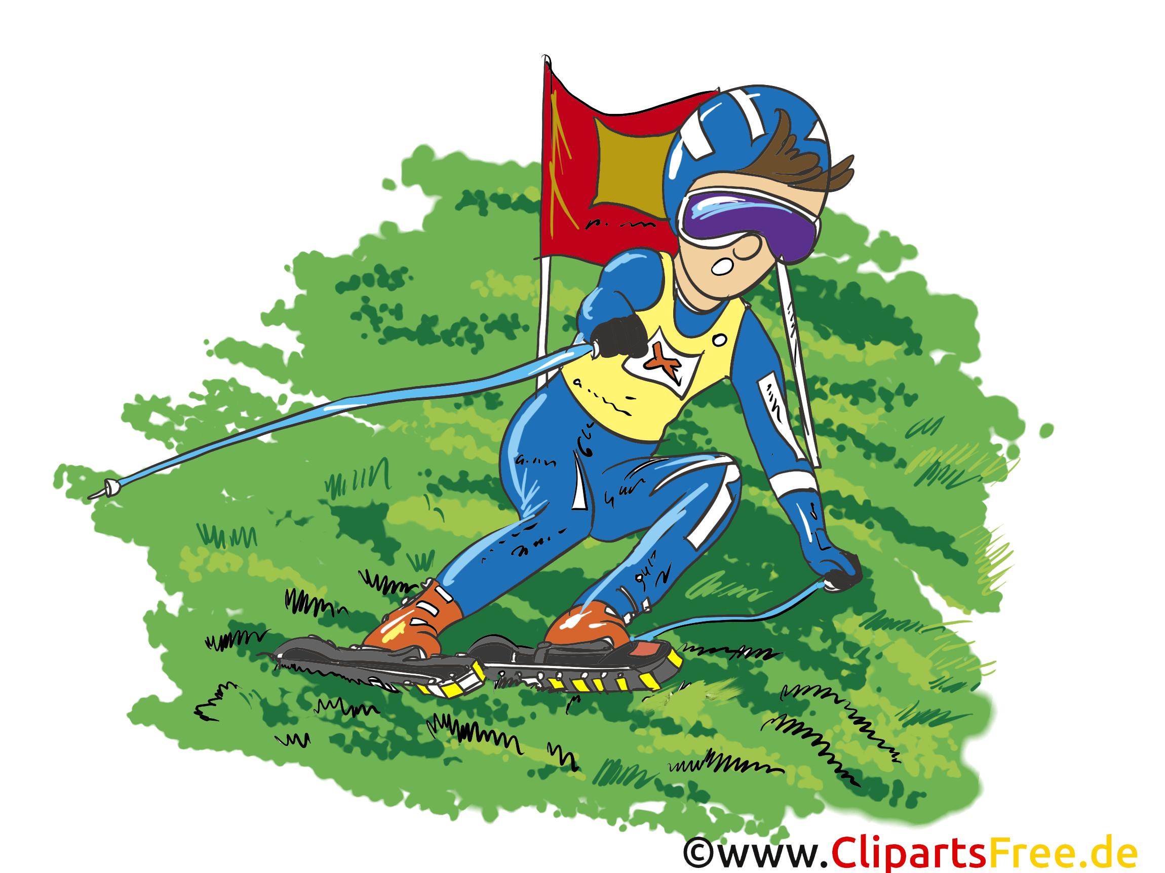 Ski sur herbe illustration à télécharger gratuite