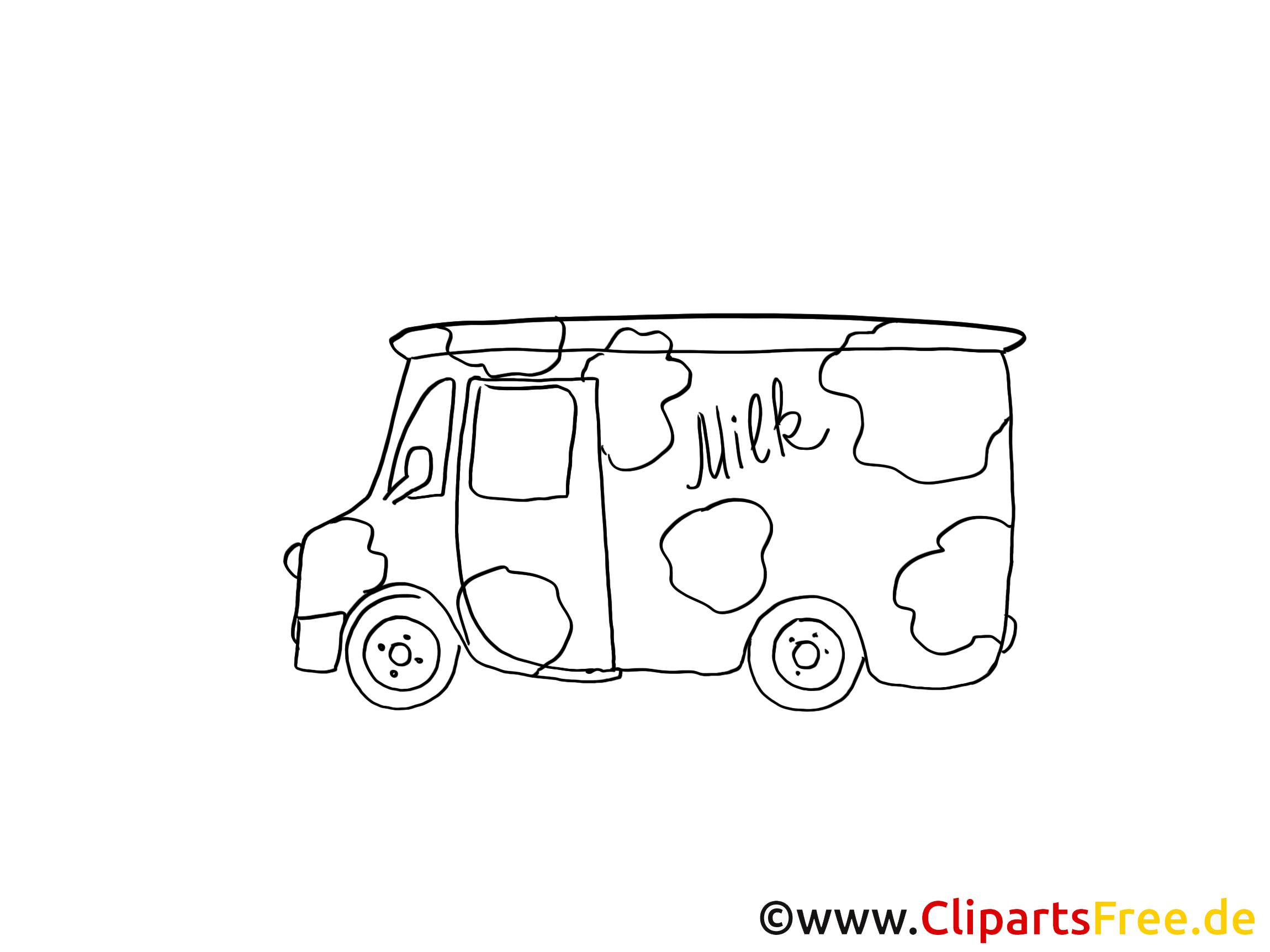 Camionnette du laitier image à colorier clipart