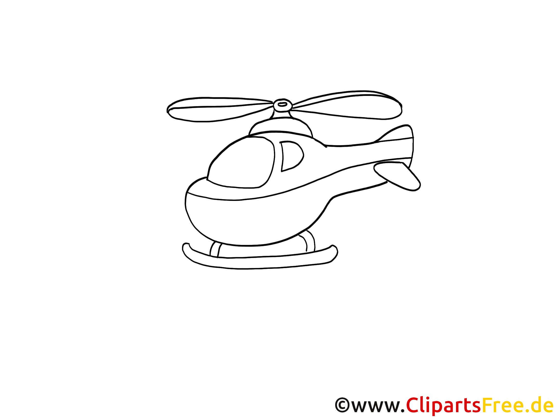 Hélicoptère image à colorier clipart