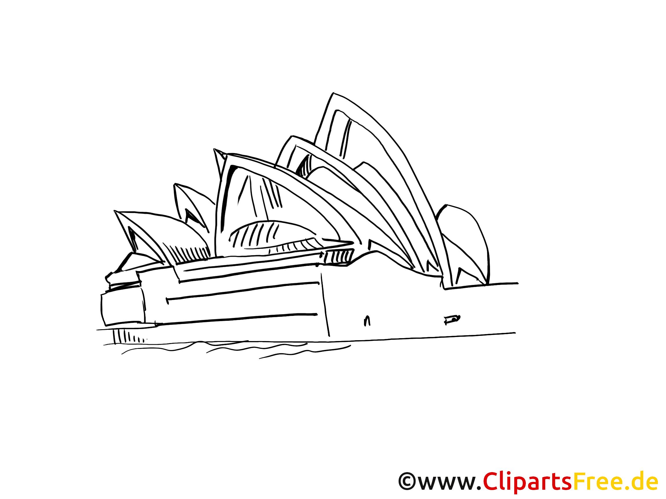 Coloriage opéra clip art gratuit - Sydney dessin