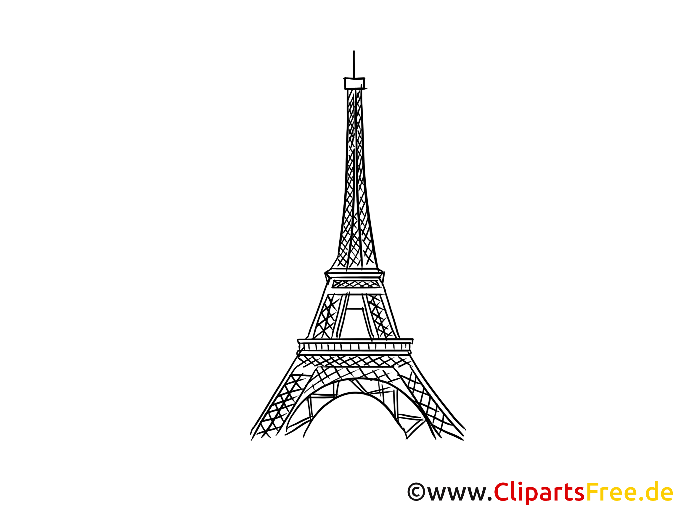 France image à colorier - Tour eiffel cliparts gratuits