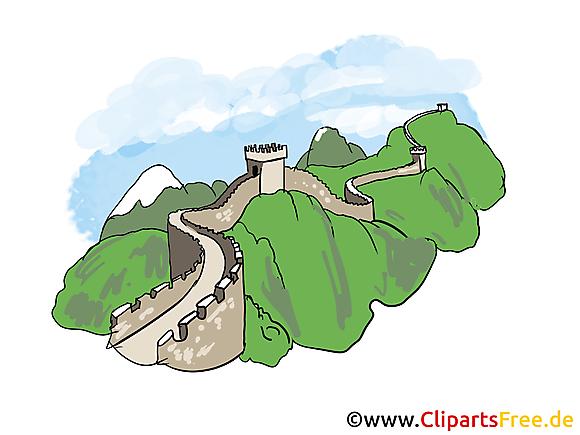 Grande muraille clip art  gratuit - Chine à télécharger