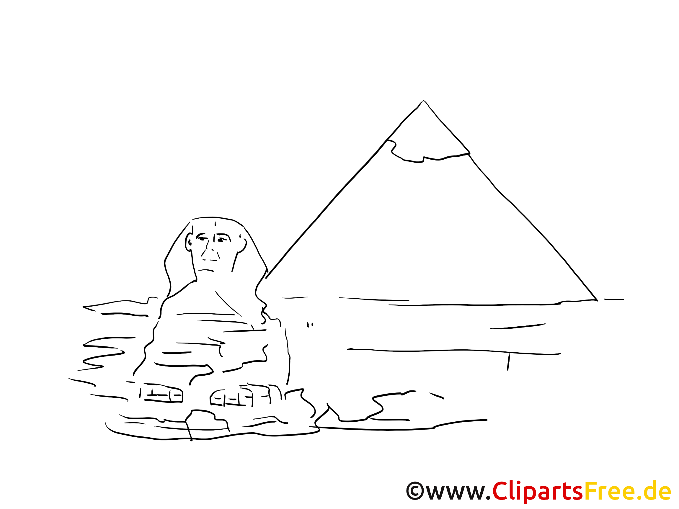 Sphinx coloriage - Pyramides illustration