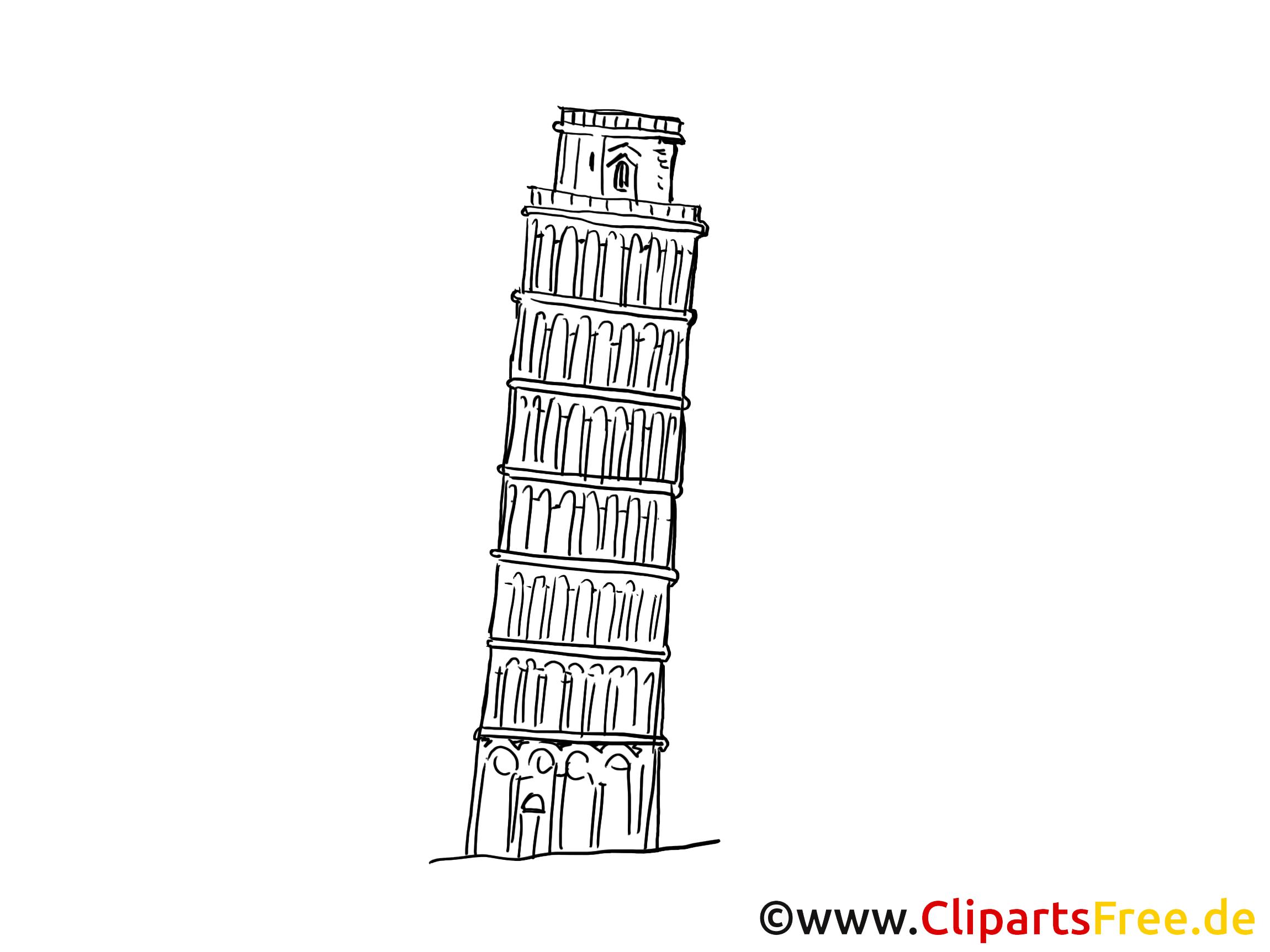 Tour penchée coloriage - Italie images gratuites