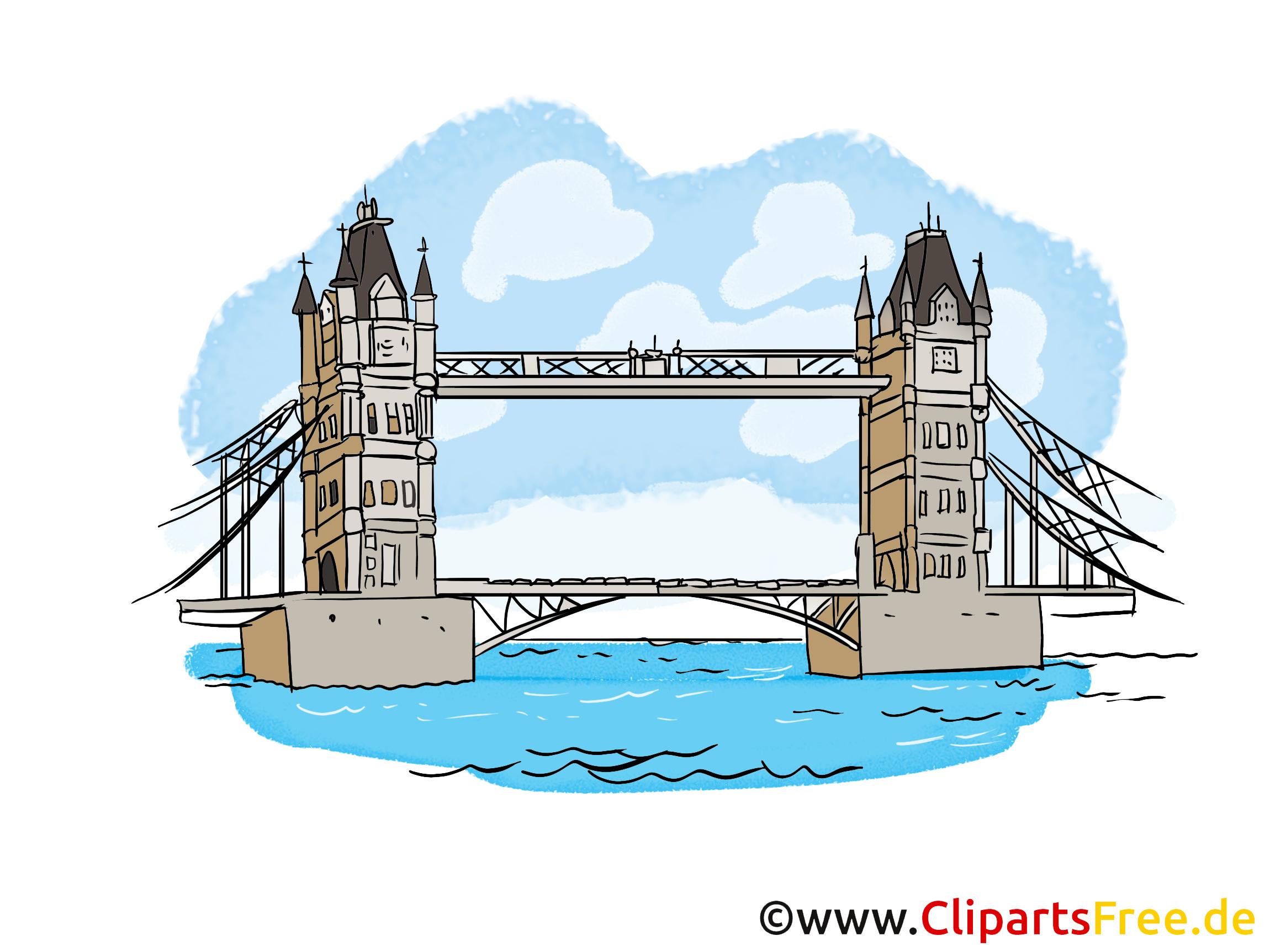Tower Bridge dessin gratuit - Londres image gratuite