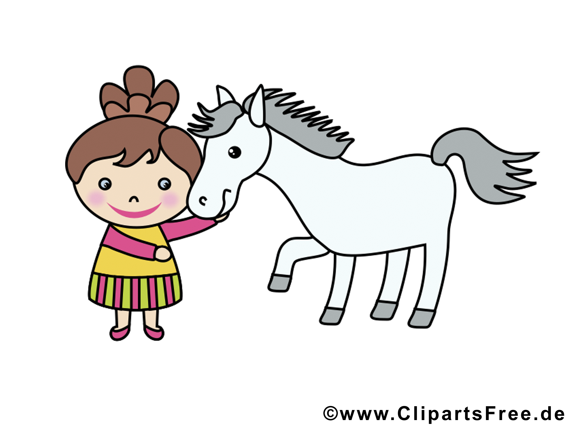 Fille cheval illustration gratuite – Animal clipart