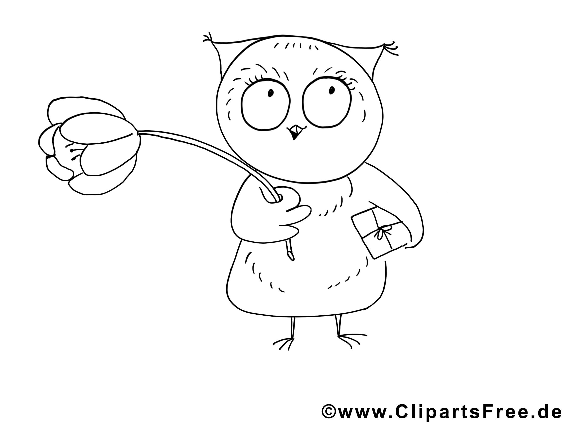 Hibou animal image à colorier gratuite