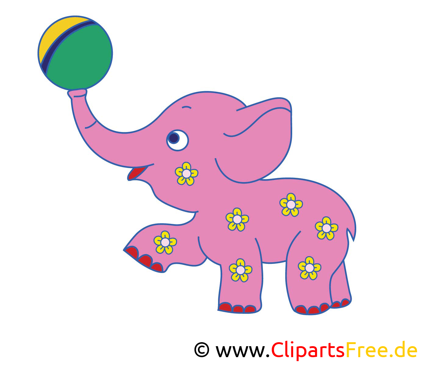 Rose éléphant clip art gratuit – Animal dessin