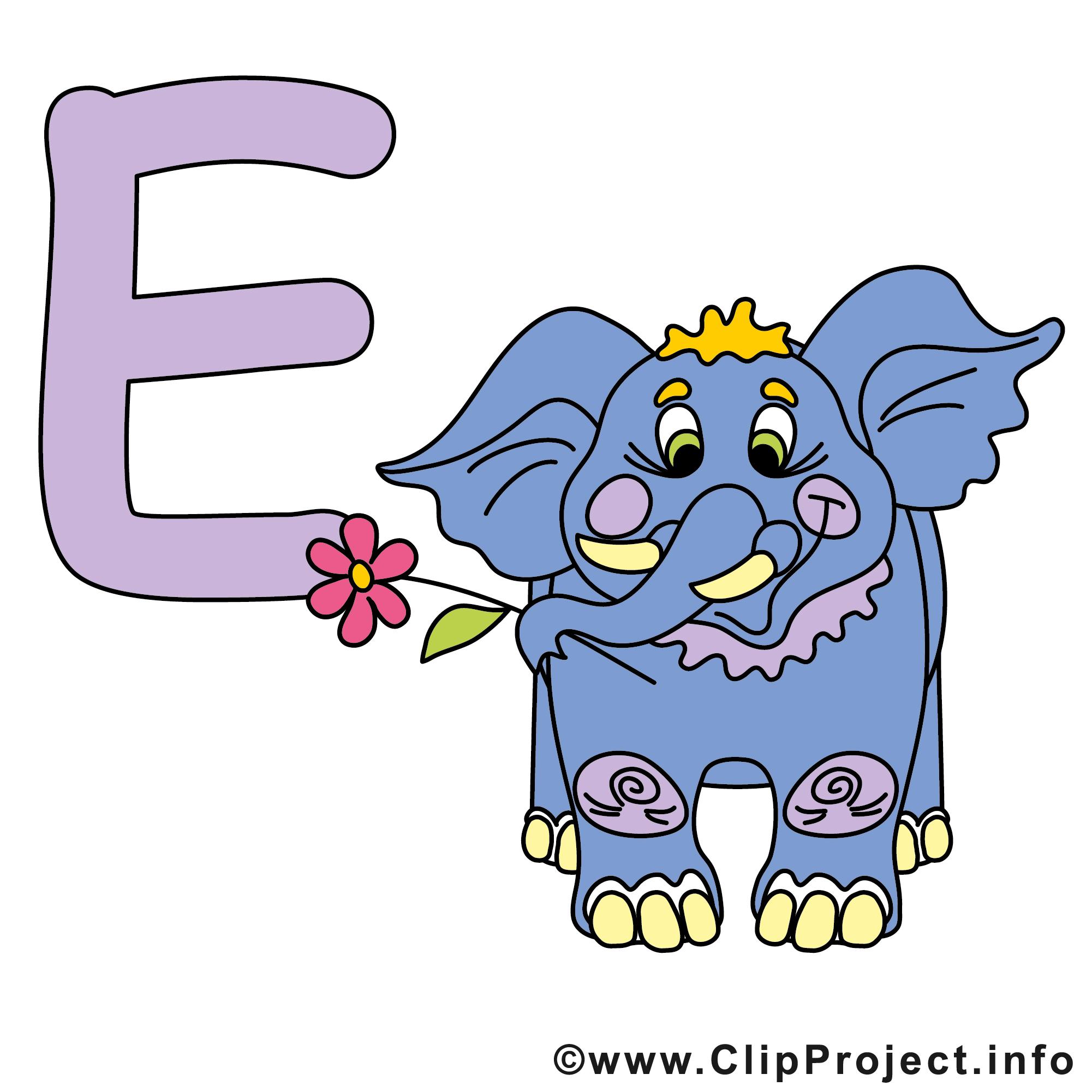 e elephant image à télécharger  alphabet english clipart